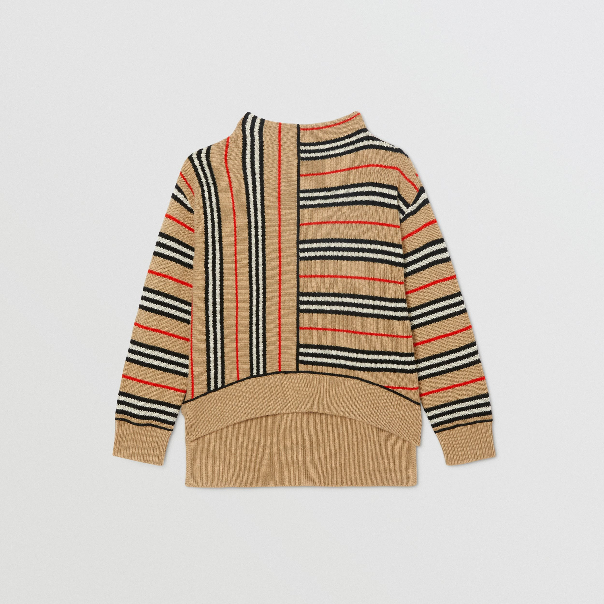 Contrast Icon Stripe Cashmere Wool Sweater in Archive Beige | Burberry - 1