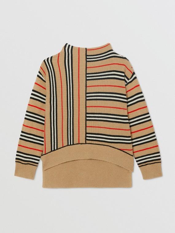 Suéter de lã e cashmere com listras icônicas contrastantes (Bege Clássico)