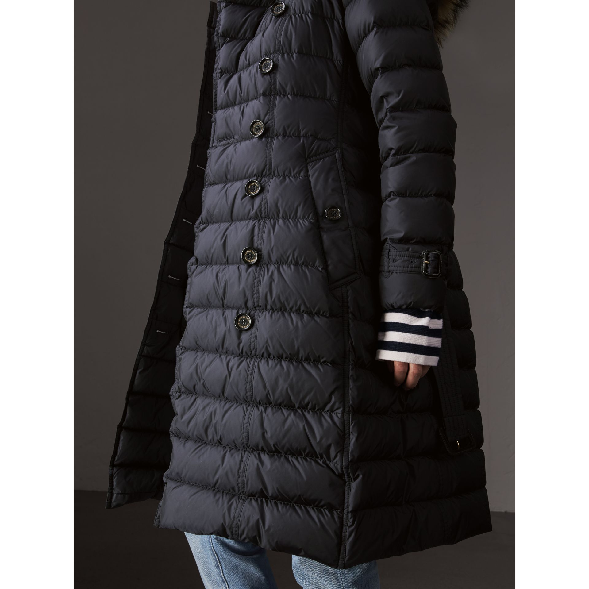 Detachable Hood Fur Trim Down-filled Puffer Coat in Navy - Women | Burberry - gallery image 5