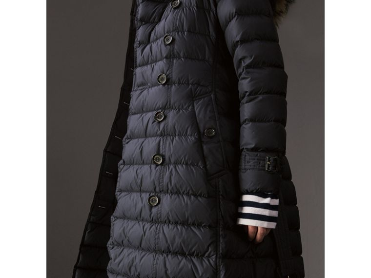 Detachable Hood Fur Trim Down-filled Puffer Coat in Navy - Women | Burberry - cell image 4