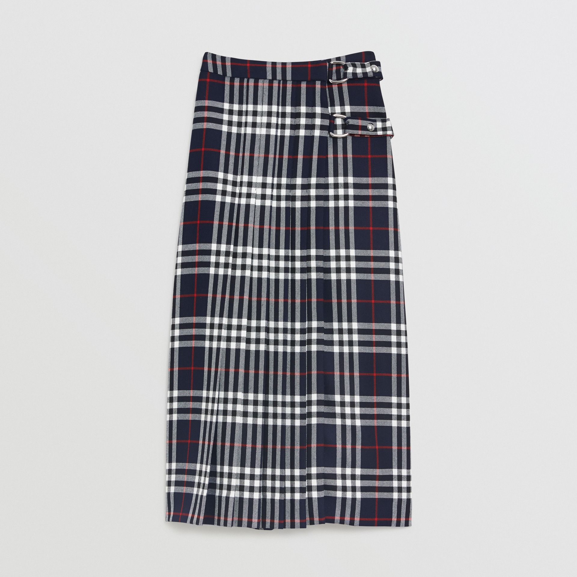 Tartan Wool Kilt in Navy - Women | Burberry - gallery image 3