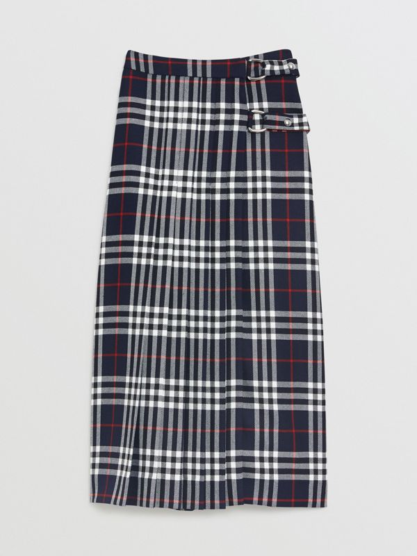 Tartan Wool Kilt in Navy - Women | Burberry - cell image 3