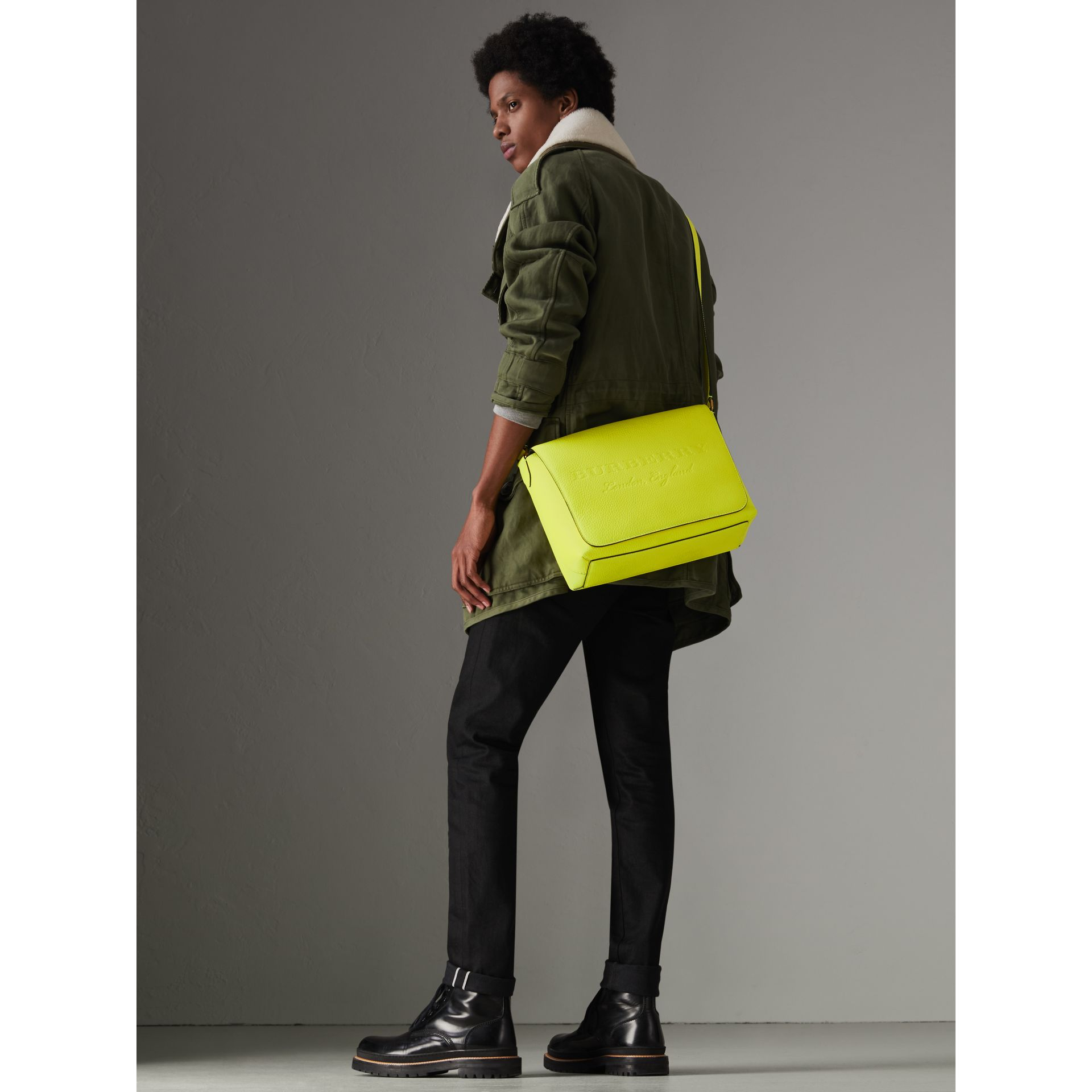 Medium Embossed Leather Messenger Bag in Neon Yellow | Burberry - gallery image 2