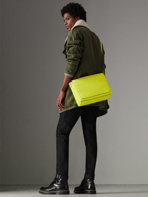 Medium Embossed Leather Messenger Bag in Neon Yellow | Burberry - cell image 2
