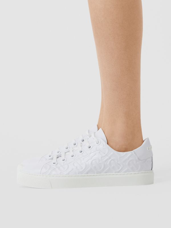 Monogram Leather Sneakers in White - Women | Burberry - cell image 2