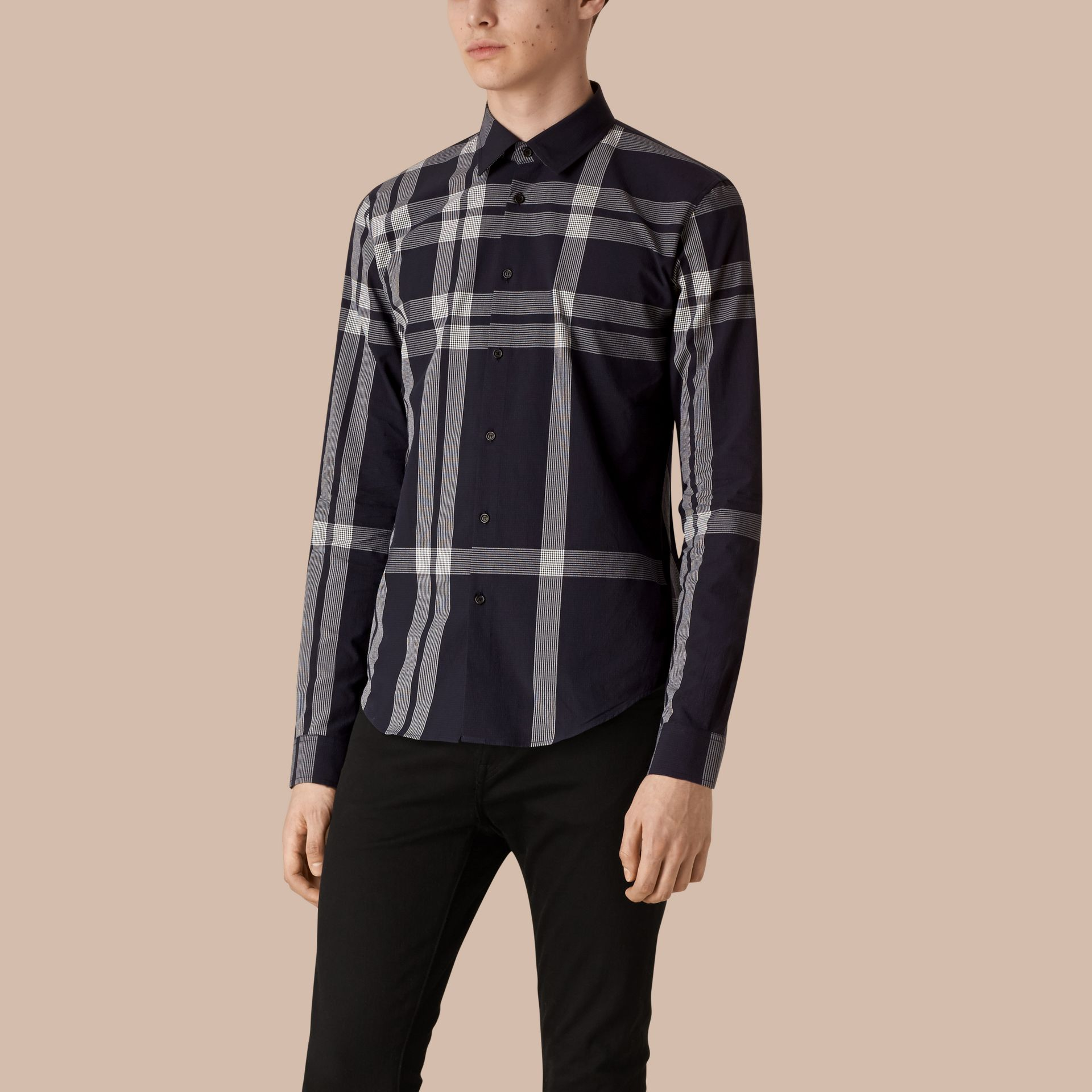Navy Textured Check Cotton Shirt Navy - gallery image 1
