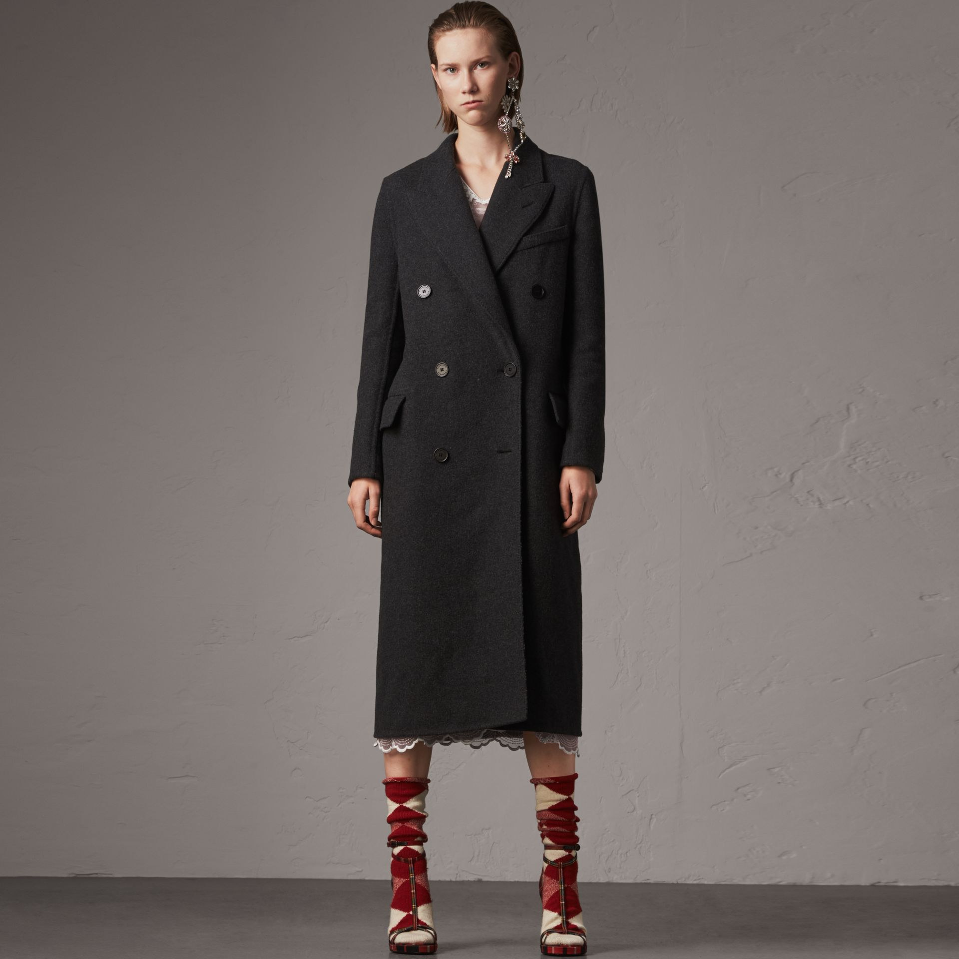 Wool Cashmere Double-breasted Coat in Grey/black - Women | Burberry Australia - gallery image 0