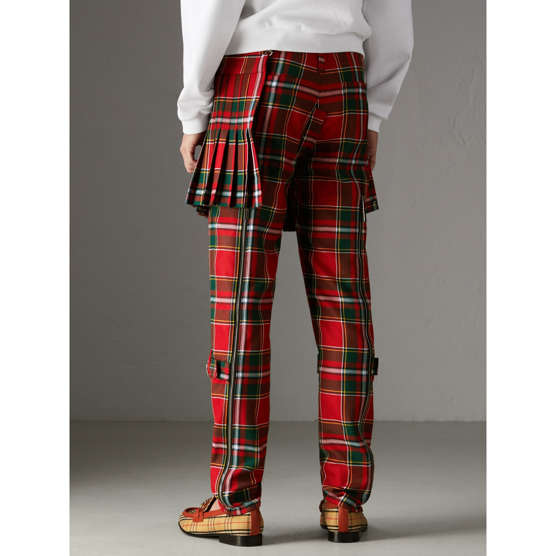 Modern Stewart Royal Tartan Punk Trousers in Bright Red | Burberry Australia - gallery image 2