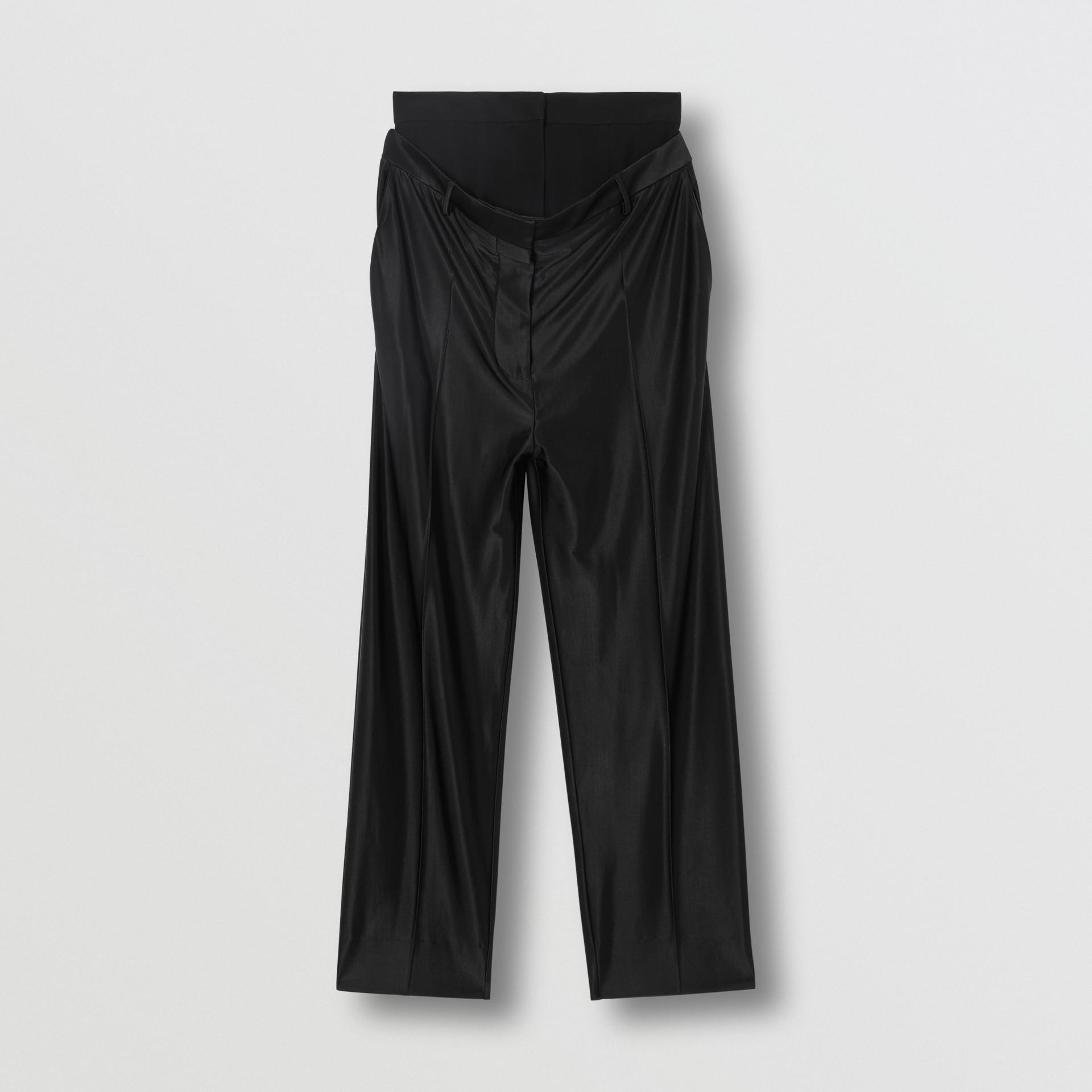 Calças de malha com cintura dupla (Preto) - Mulheres | Burberry - galeria de imagens 3