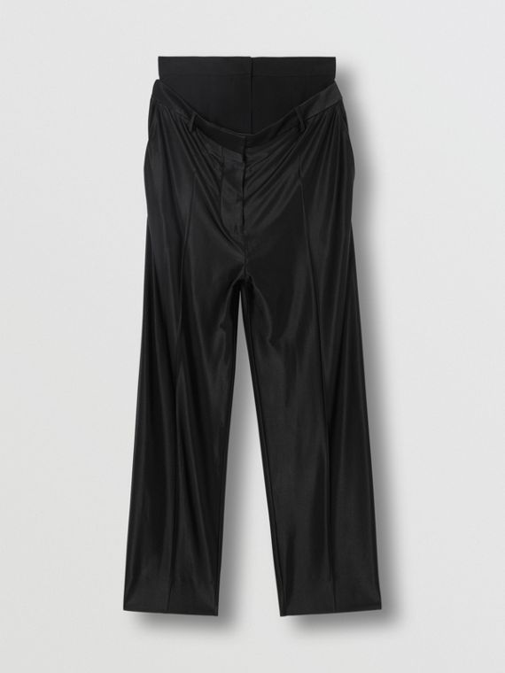 Double-waist Jersey Trousers in Black