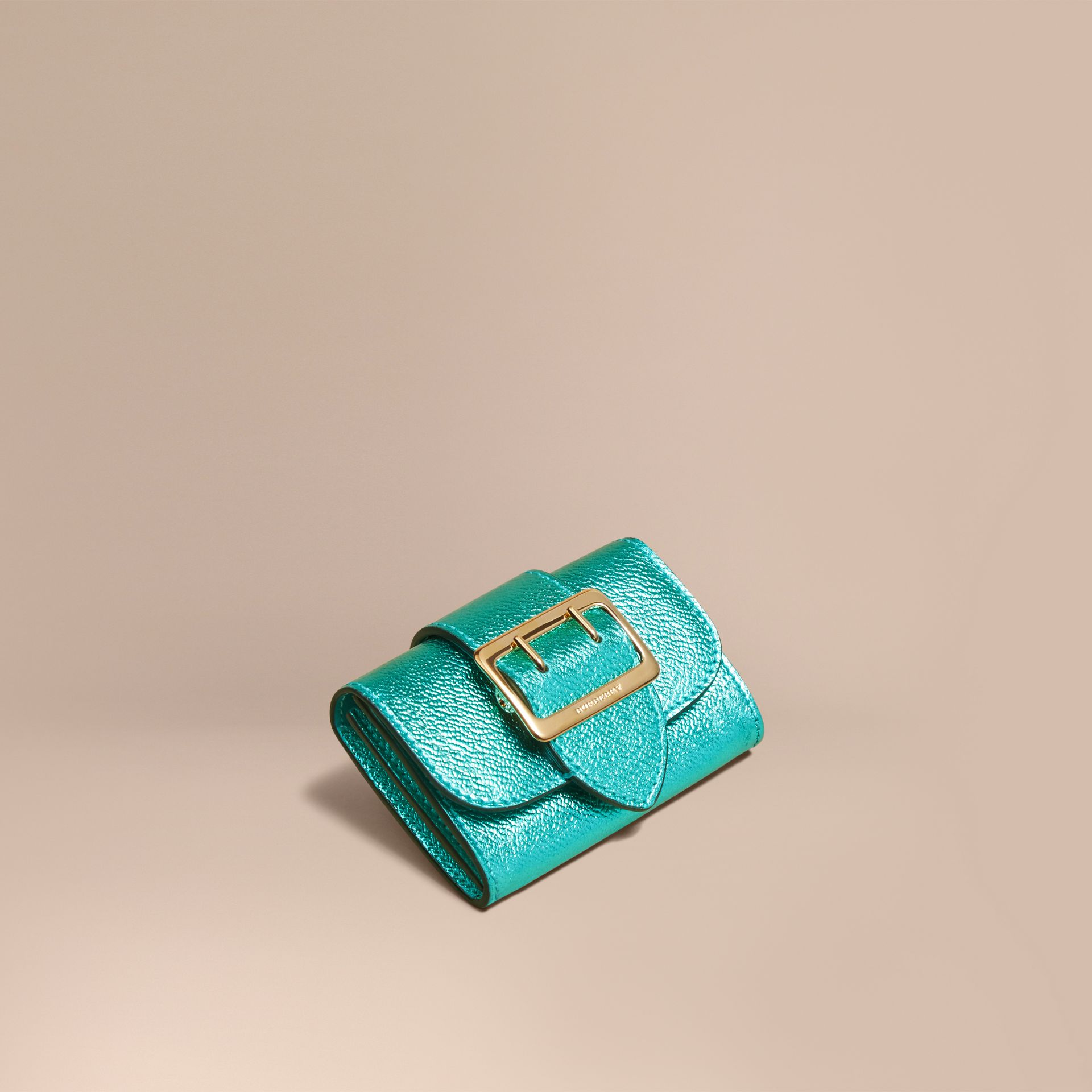 Metallic Leather Card Case in Emerald - gallery image 1