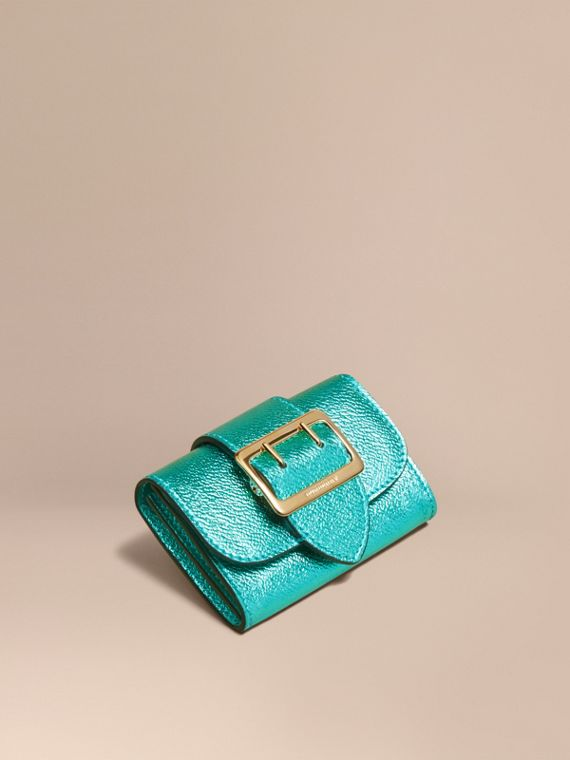 Metallic Leather Card Case Emerald