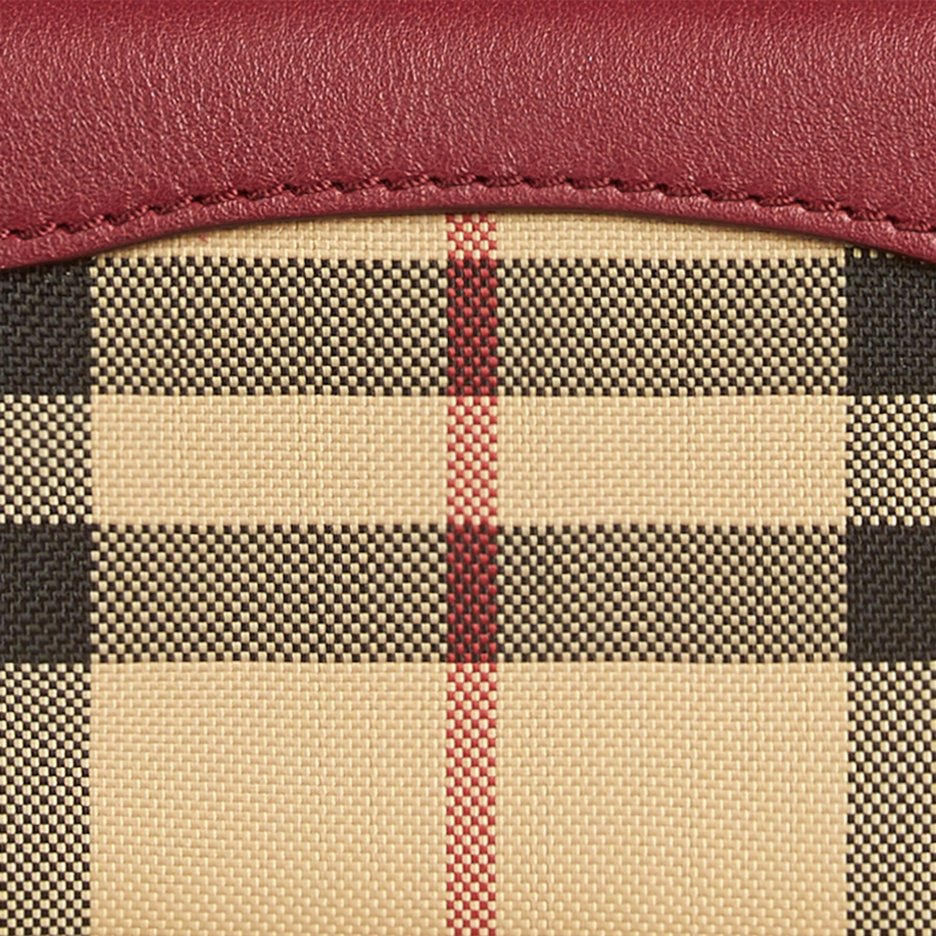 Dark plum Horseferry Check and Leather Card Case Dark Plum - gallery image 2