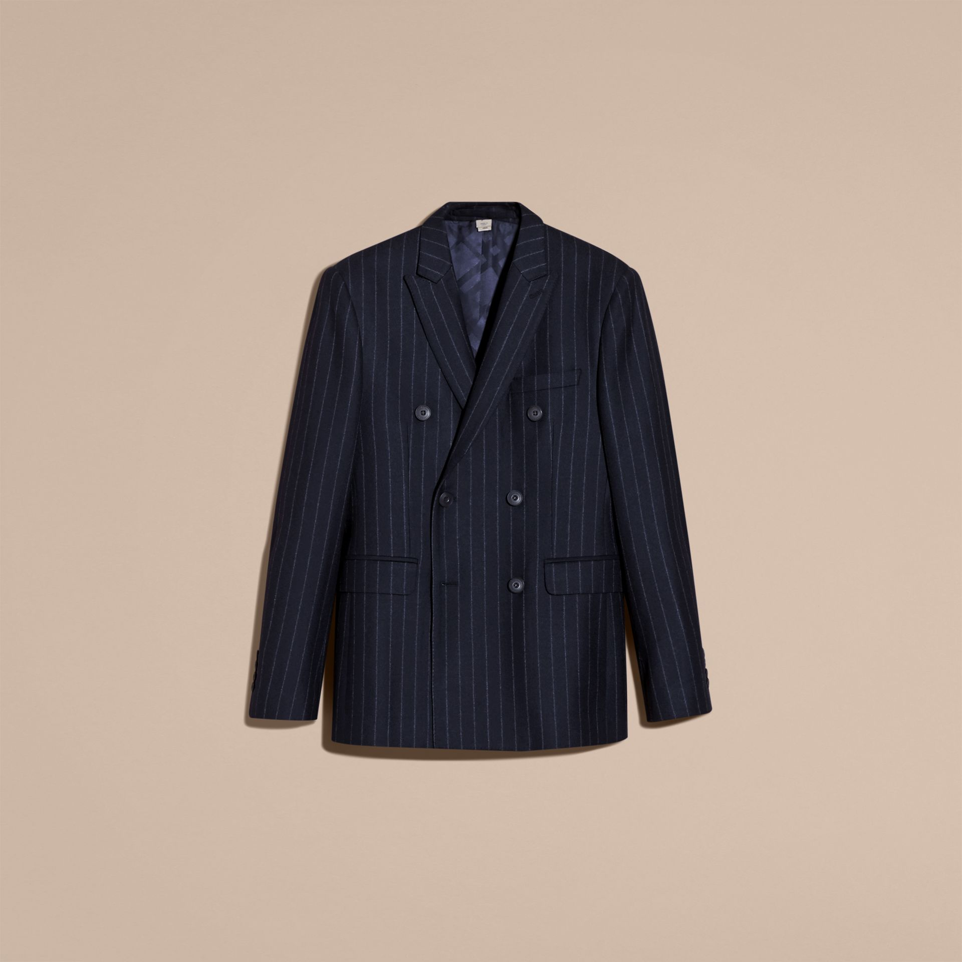 Slim Fit Double-breasted Pinstripe Wool Suit - gallery image 4