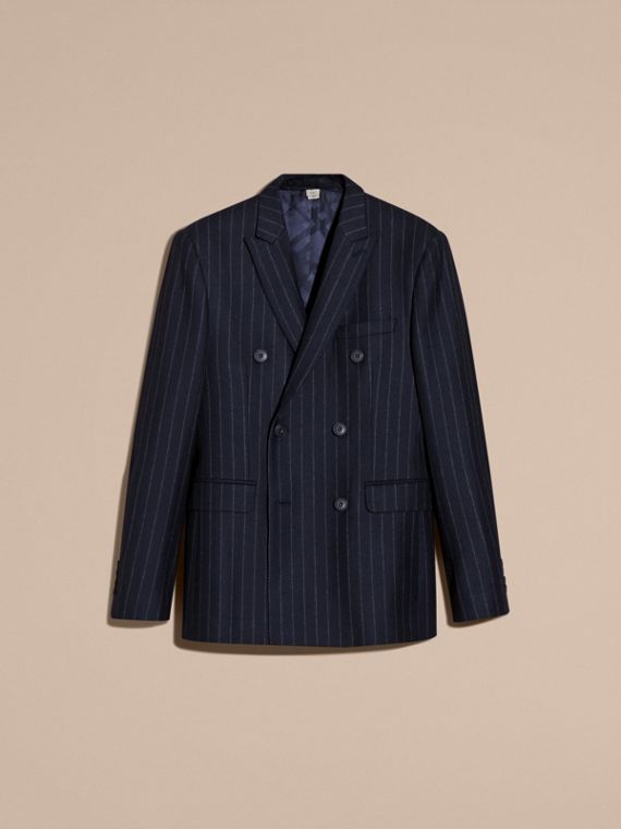 Navy Slim Fit Double-breasted Pinstripe Wool Suit - cell image 3
