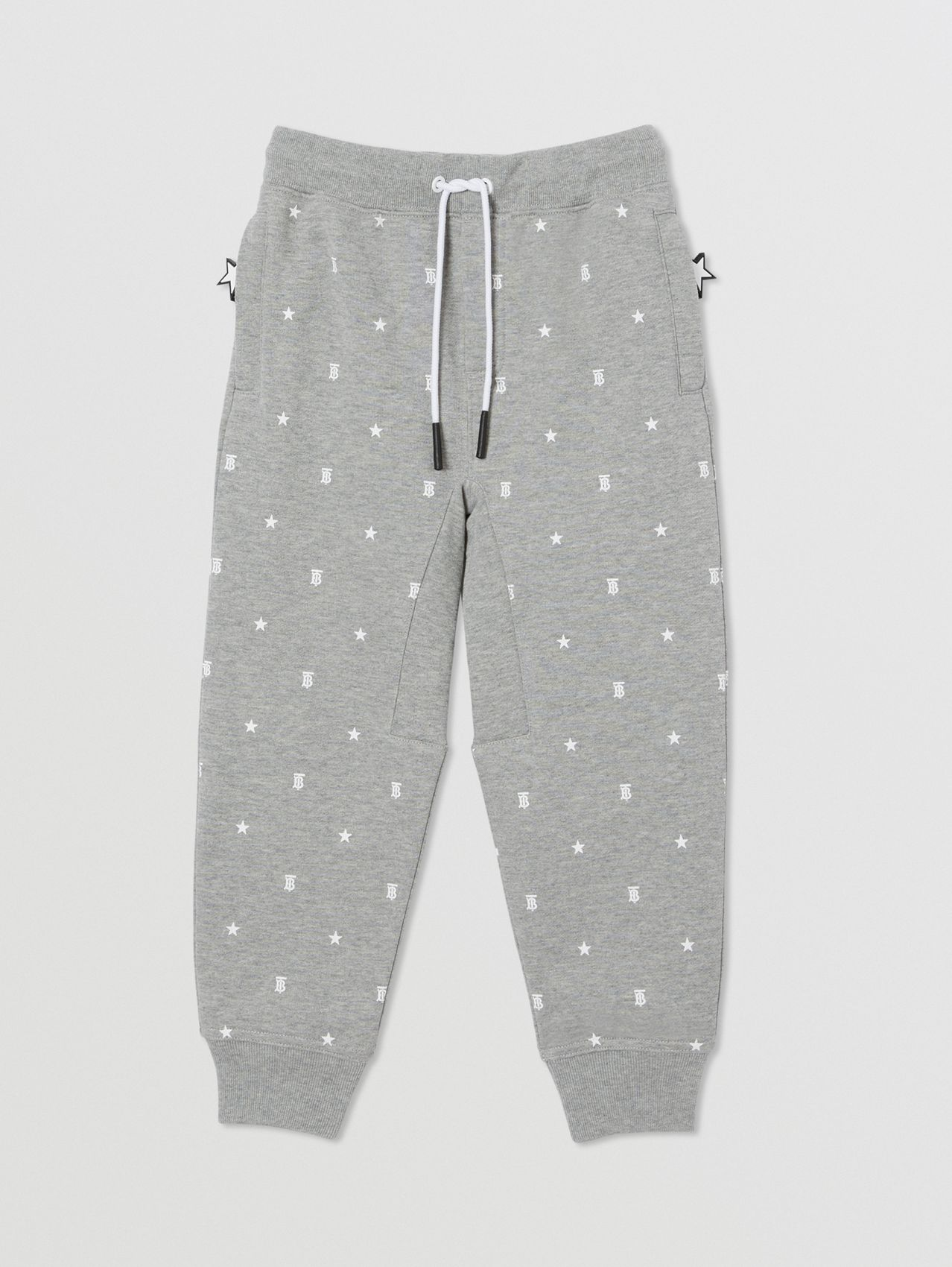 Star and Monogram Print Cotton Jogging Pants in Grey