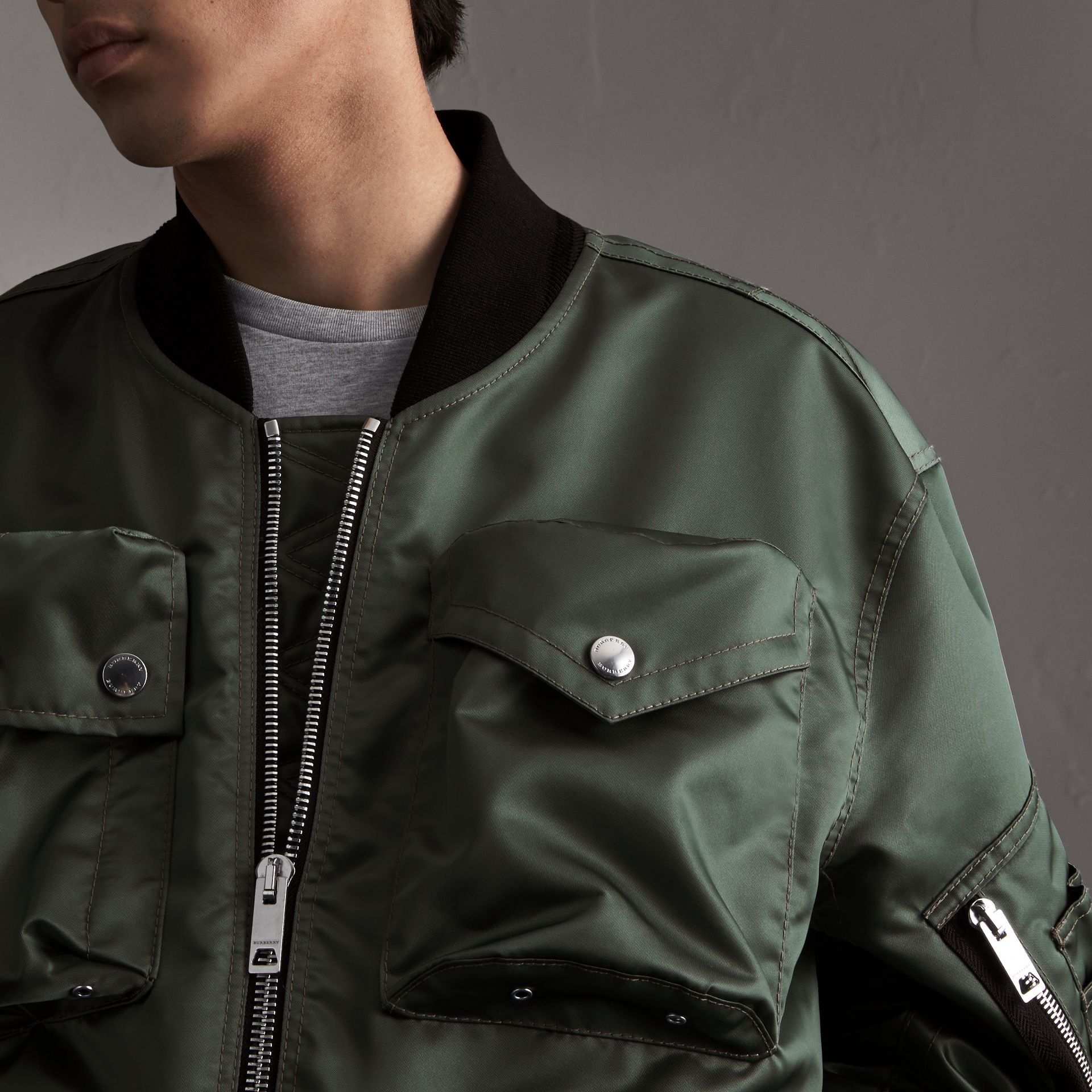 Contrast Collar Lightweight Flying Jacket in Storm Green - Men | Burberry - gallery image 4