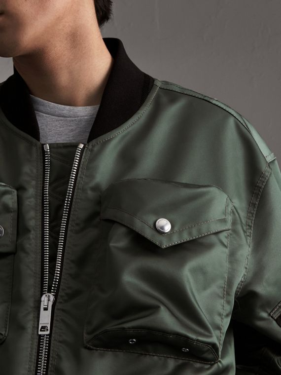 Contrast Collar Lightweight Flying Jacket in Storm Green - Men | Burberry - cell image 3