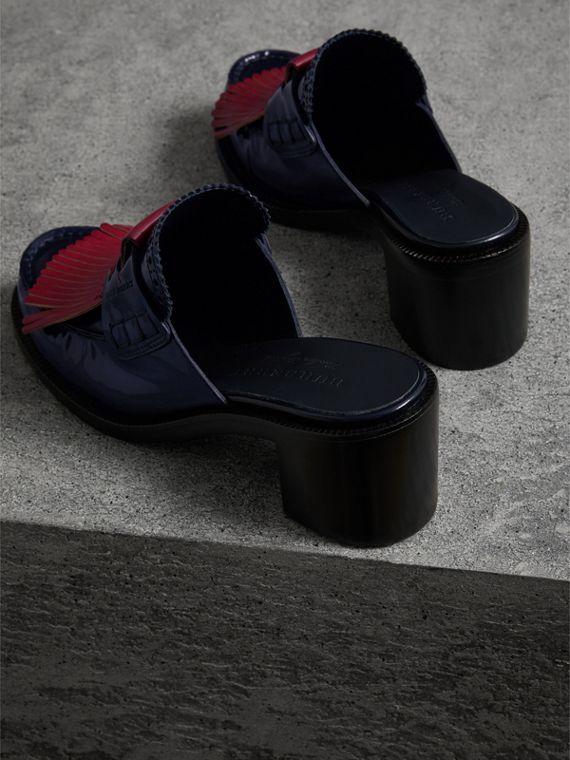Contrast Kiltie Fringe Leather Block-heel Mules in Navy - Women | Burberry - cell image 3