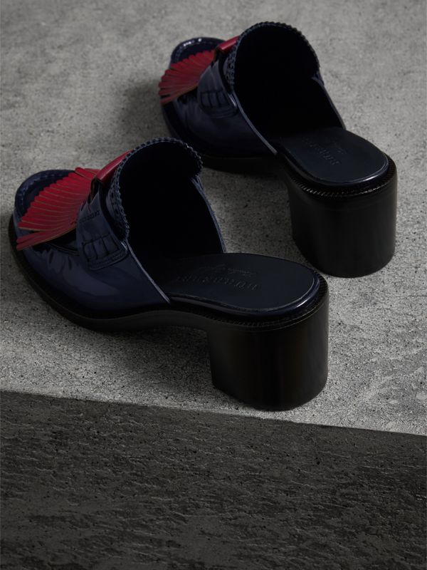 Contrast Kiltie Fringe Leather Block-heel Mules in Navy - Women | Burberry United States - cell image 3