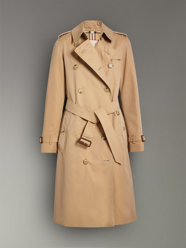 The Long Kensington Heritage Trench Coat in Honey - Women | Burberry - cell image 3