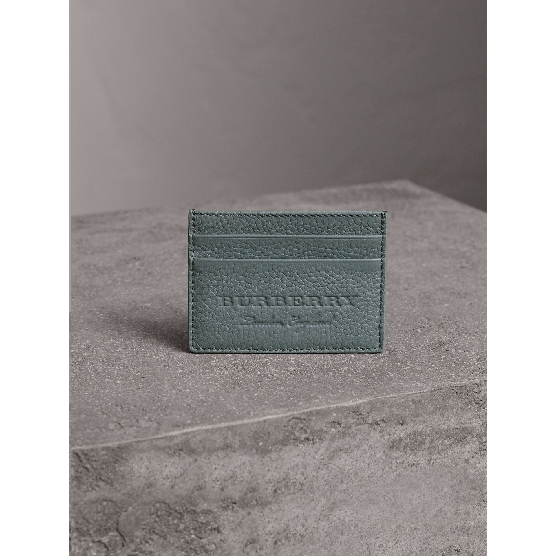 Textured Leather Card Case in Dusty Teal Blue | Burberry United States - gallery image 4