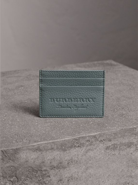 Textured Leather Card Case in Dusty Teal Blue - Men | Burberry - cell image 3