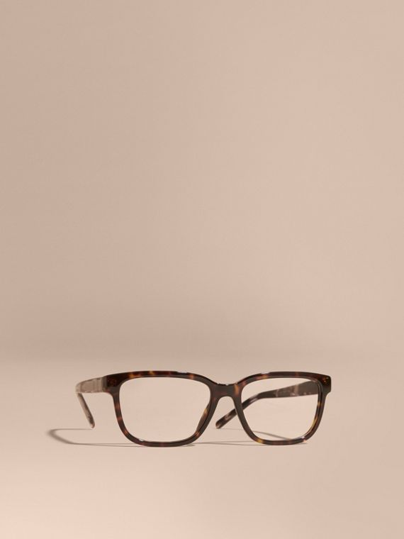 Check Detail Rectangular Optical Frames Light Russet Brown