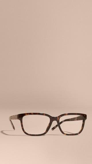 Óculos de grau com armação retangular e detalhe xadrez