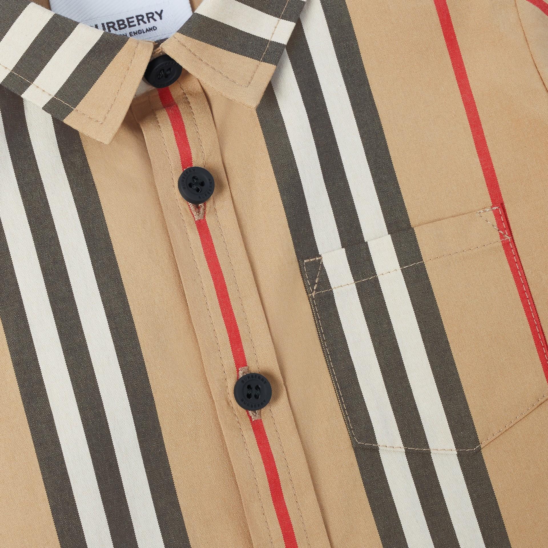 Short-sleeve Icon Stripe Cotton Poplin Shirt in Archive Beige - Children | Burberry - gallery image 1