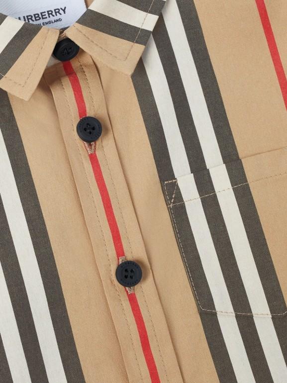 Short-sleeve Icon Stripe Cotton Poplin Shirt in Archive Beige - Children | Burberry - cell image 1