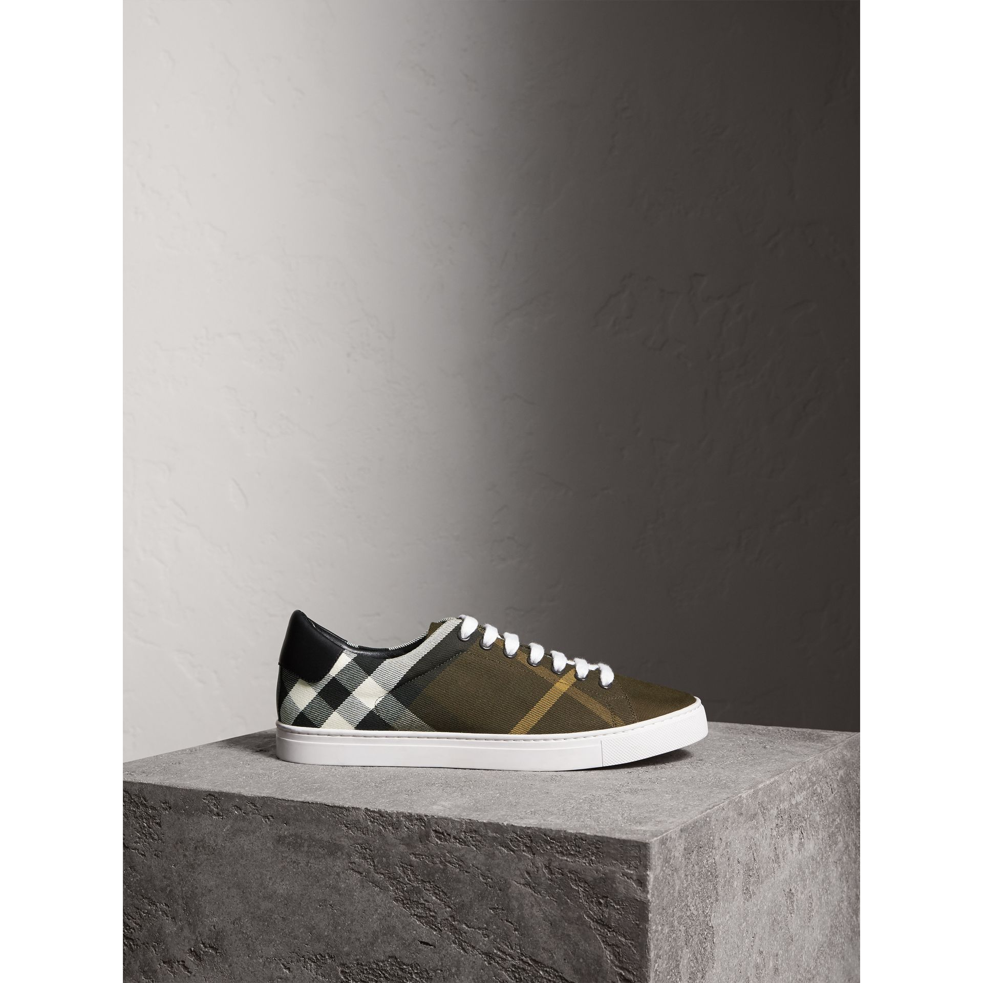 Overdyed House Check Cotton Trainers in Dark Military Green/black - Men | Burberry United Kingdom - gallery image 4
