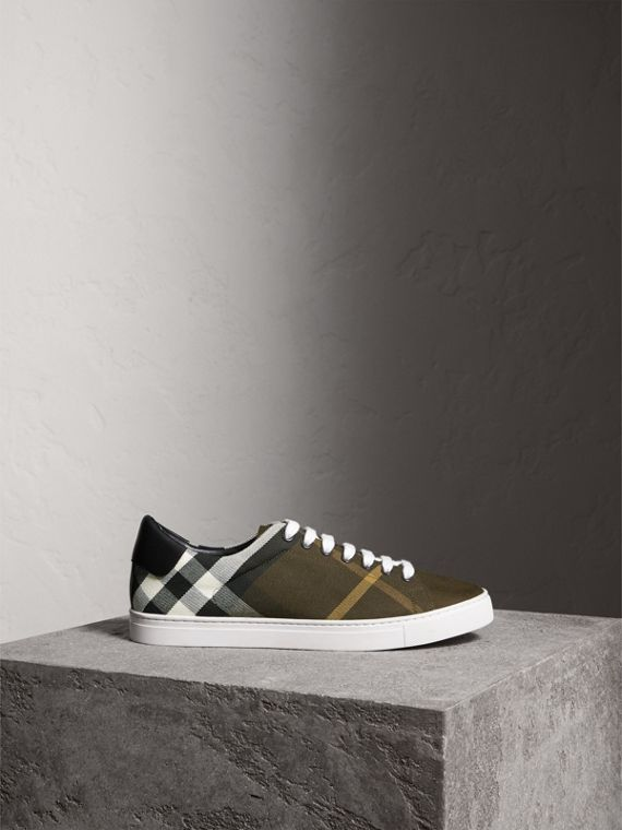 Overdyed House Check Cotton Trainers in Dark Military Green/black - Men | Burberry - cell image 3