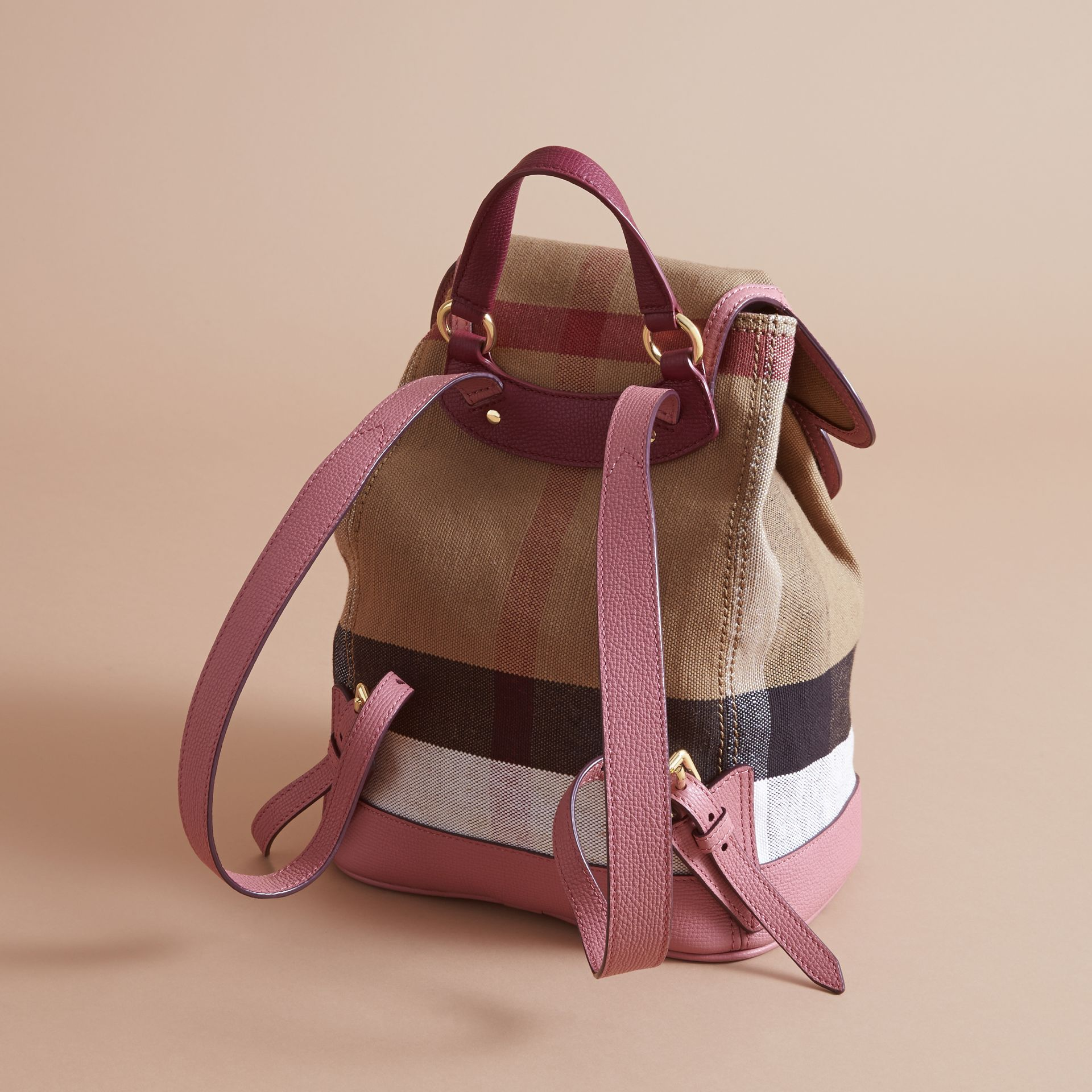 Weather Motif Canvas Check Mini Backpack in Mauve Pink | Burberry - gallery image 3