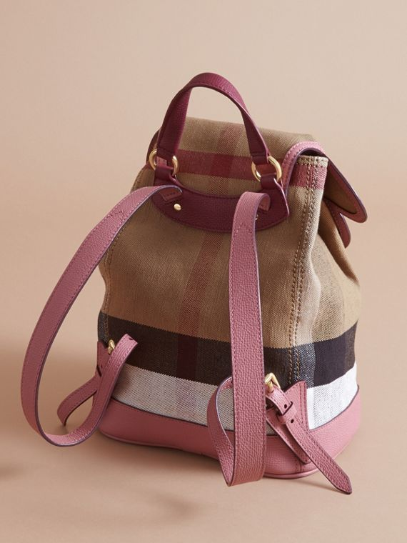 Weather Motif Canvas Check Mini Backpack in Mauve Pink | Burberry - cell image 2