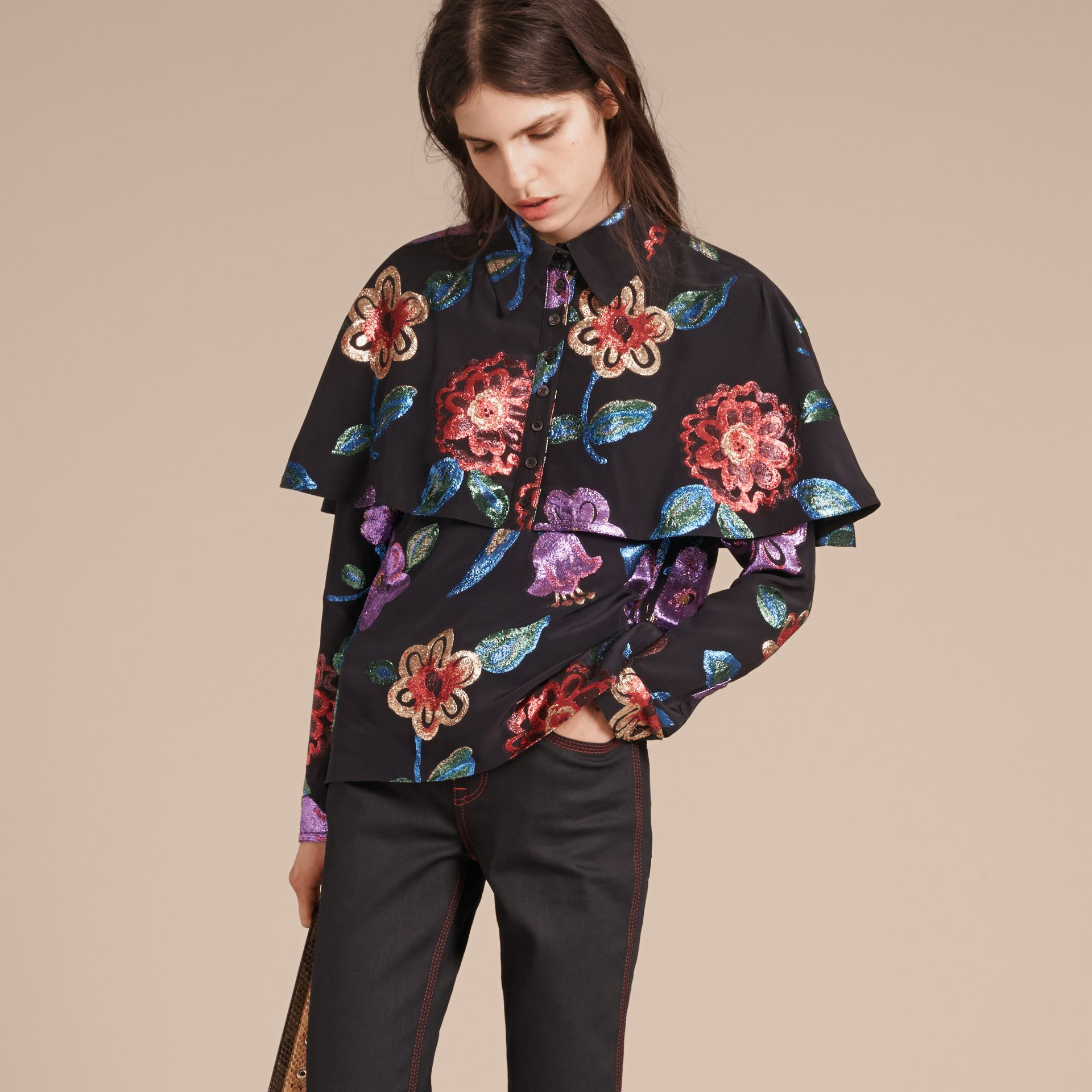 Navy Floral Fil Coupé Silk Blend Caped Shirt - gallery image 5