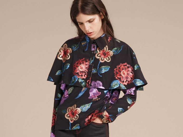 Navy Floral Fil Coupé Silk Blend Caped Shirt - cell image 4