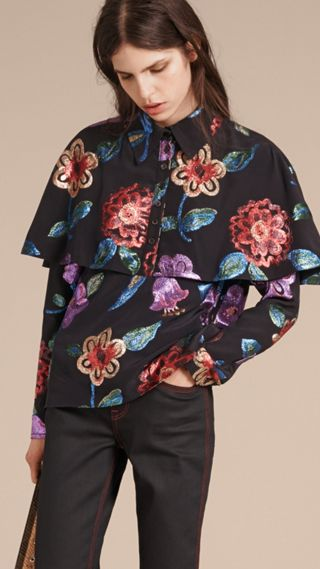 Floral Fil Coupé Silk Blend Caped Shirt
