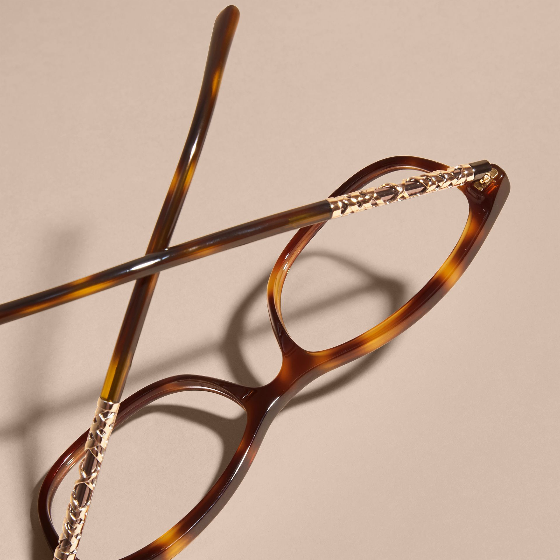 Light russet brown Check Detail Oval Optical Frames Light Russet Brown - gallery image 4