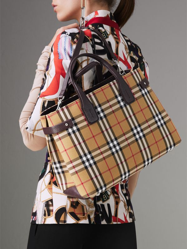The Medium Banner in Vintage Check and Leather in Deep Claret - Women | Burberry - cell image 3