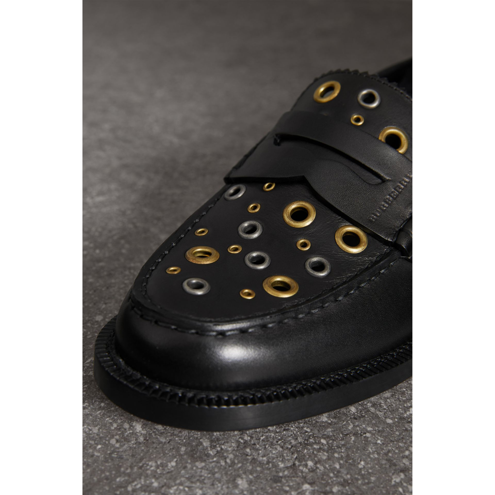Eyelet Detail Leather Penny Loafers in Black - Women | Burberry Australia - gallery image 1