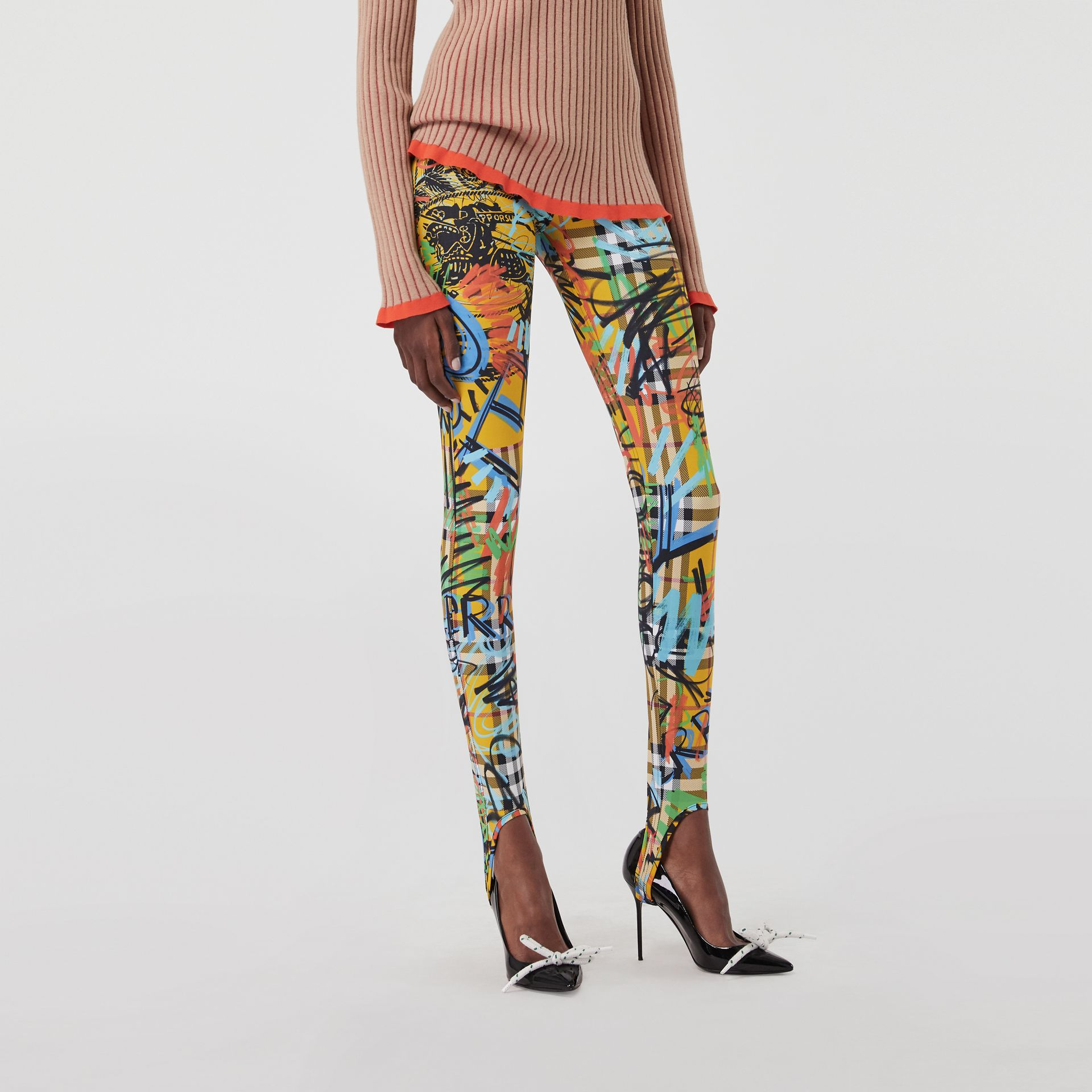 Graffiti Print Vintage Check Leggings in Amber Yellow - Women | Burberry - gallery image 4