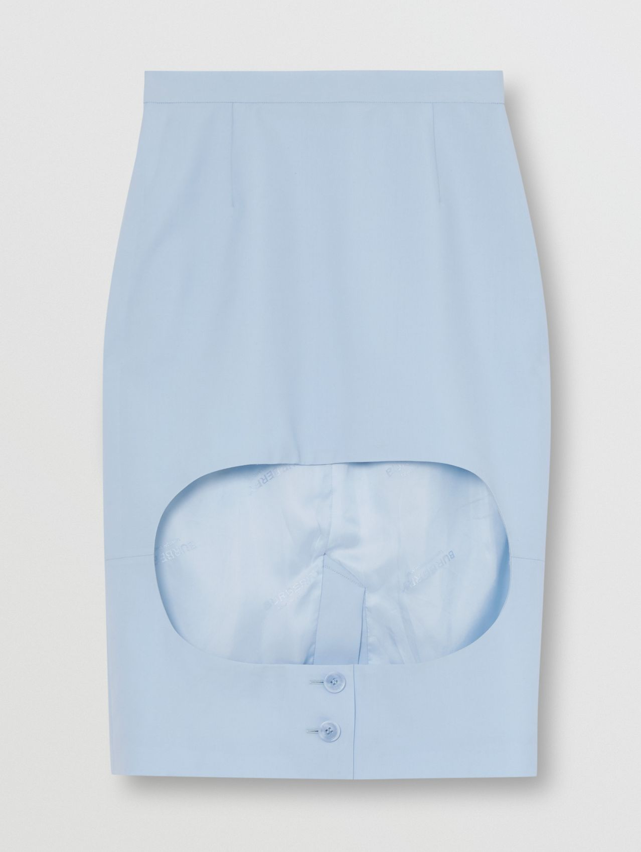 Wool Canvas Step-through Pencil Skirt in Pale Blue