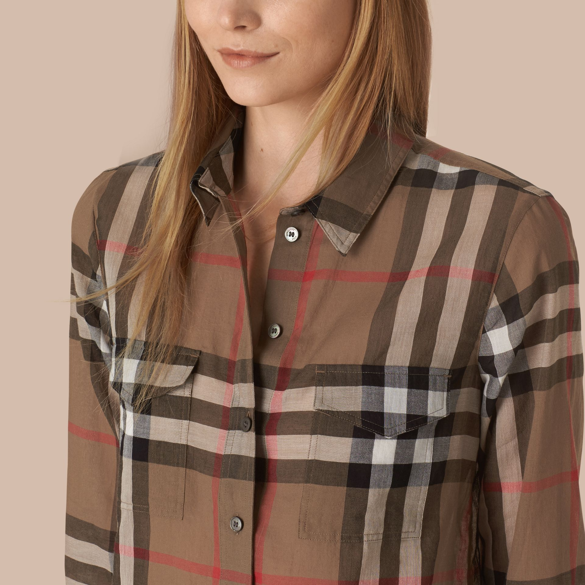 Check Cotton Shirt Taupe Brown - gallery image 4