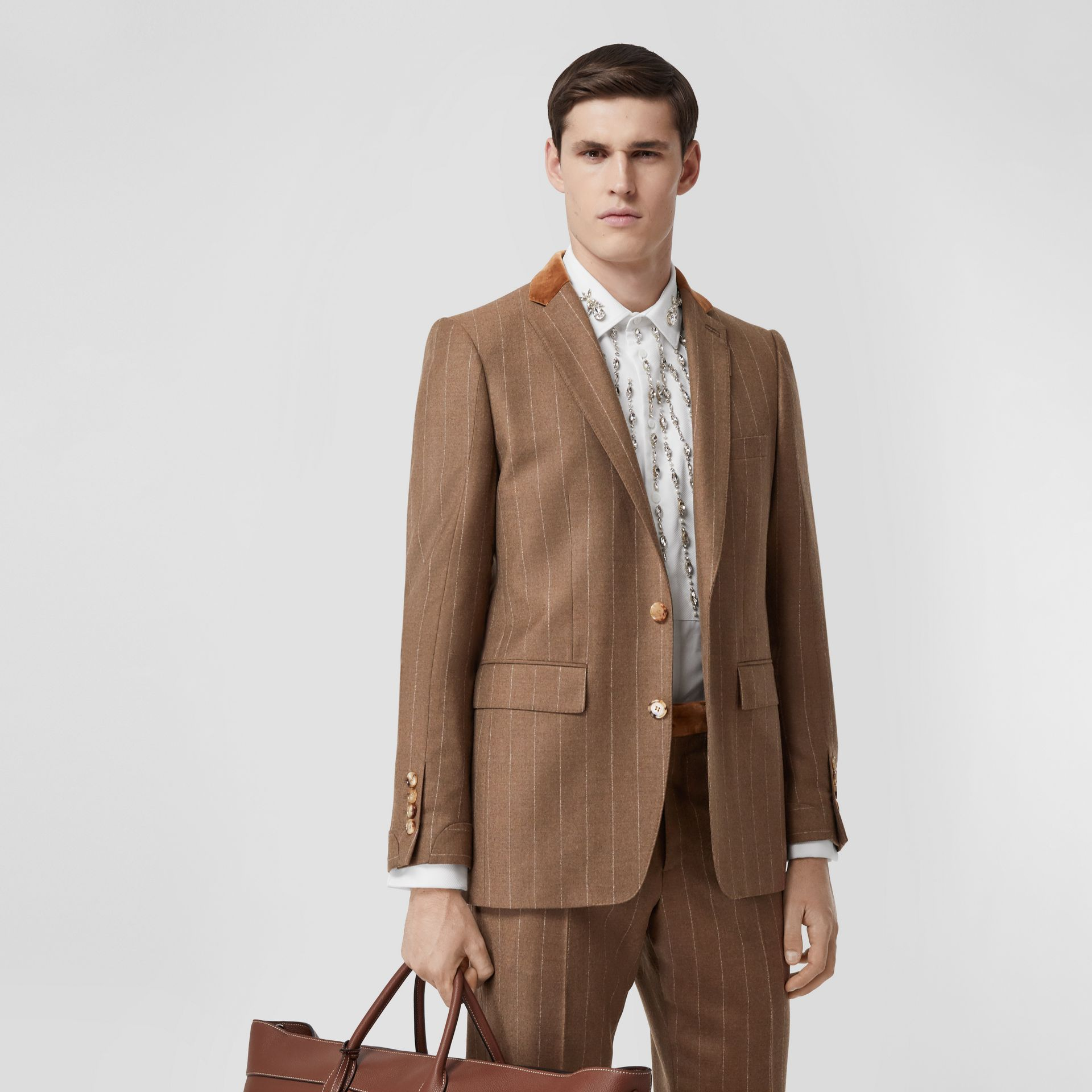 Classic Fit Velvet Trim Wool Cashmere Tailored Jacket in Dark Tan - Men | Burberry - gallery image 0
