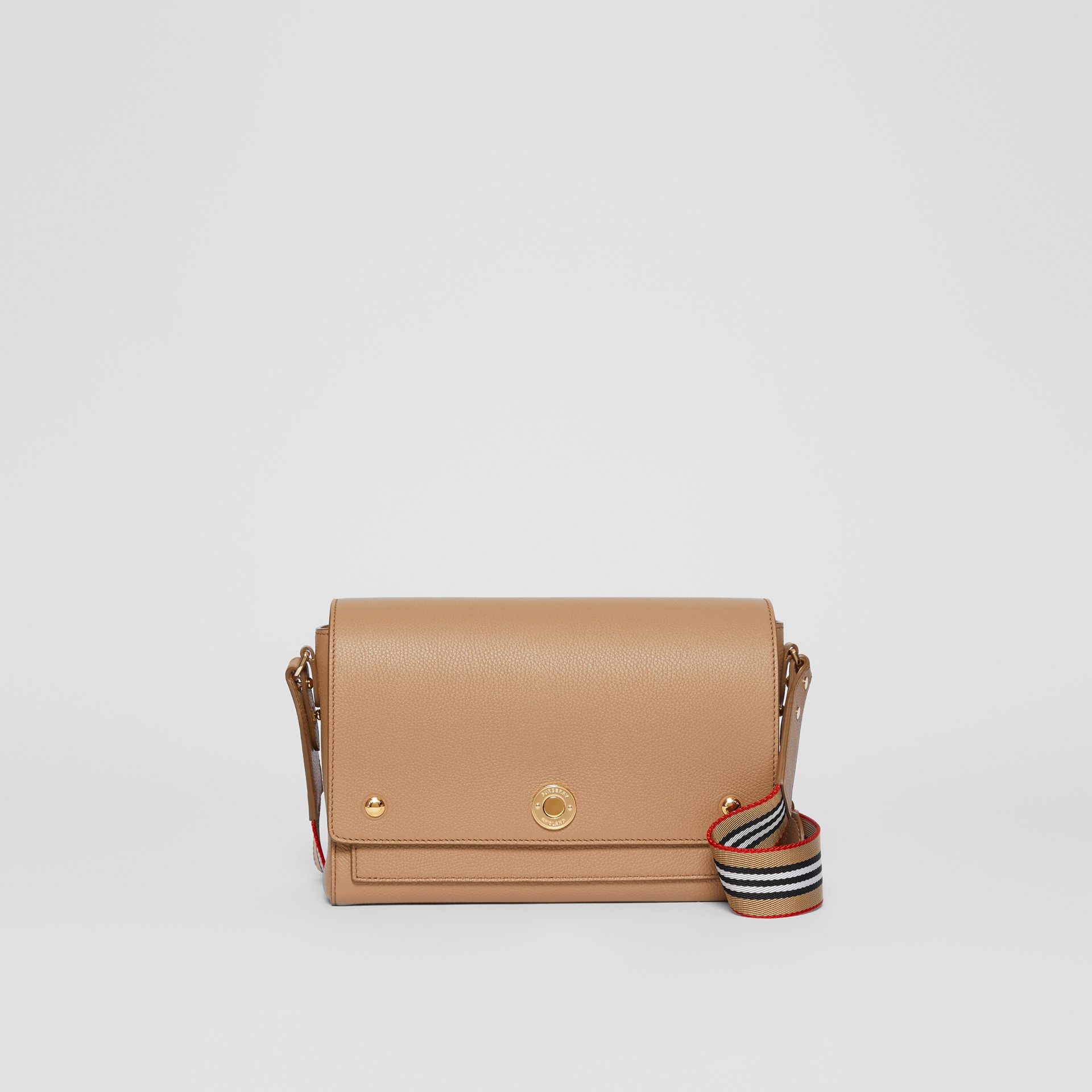 Grainy Leather Note Crossbody Bag in Camel - Women | Burberry Australia - gallery image 0