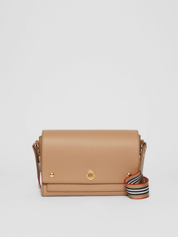 Grainy Leather Note Crossbody Bag in Camel
