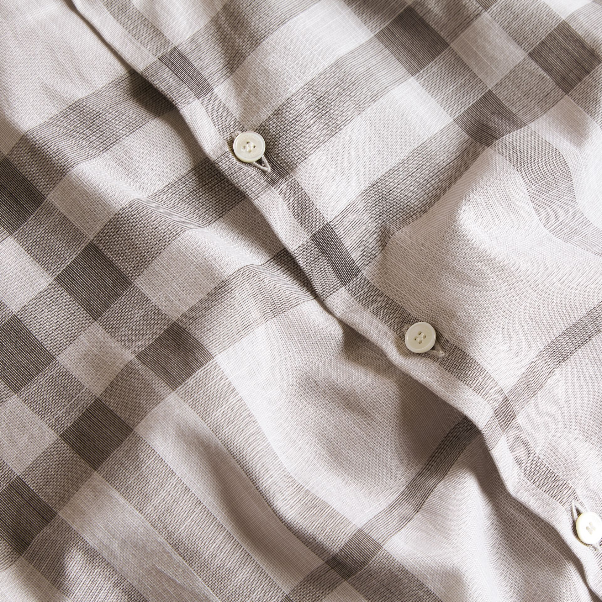 Mid grey Check Cotton Chambray Shirt Mid Grey - gallery image 2