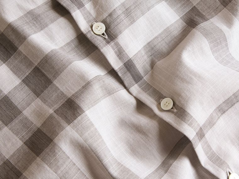 Check Cotton Chambray Shirt Mid Grey - cell image 1