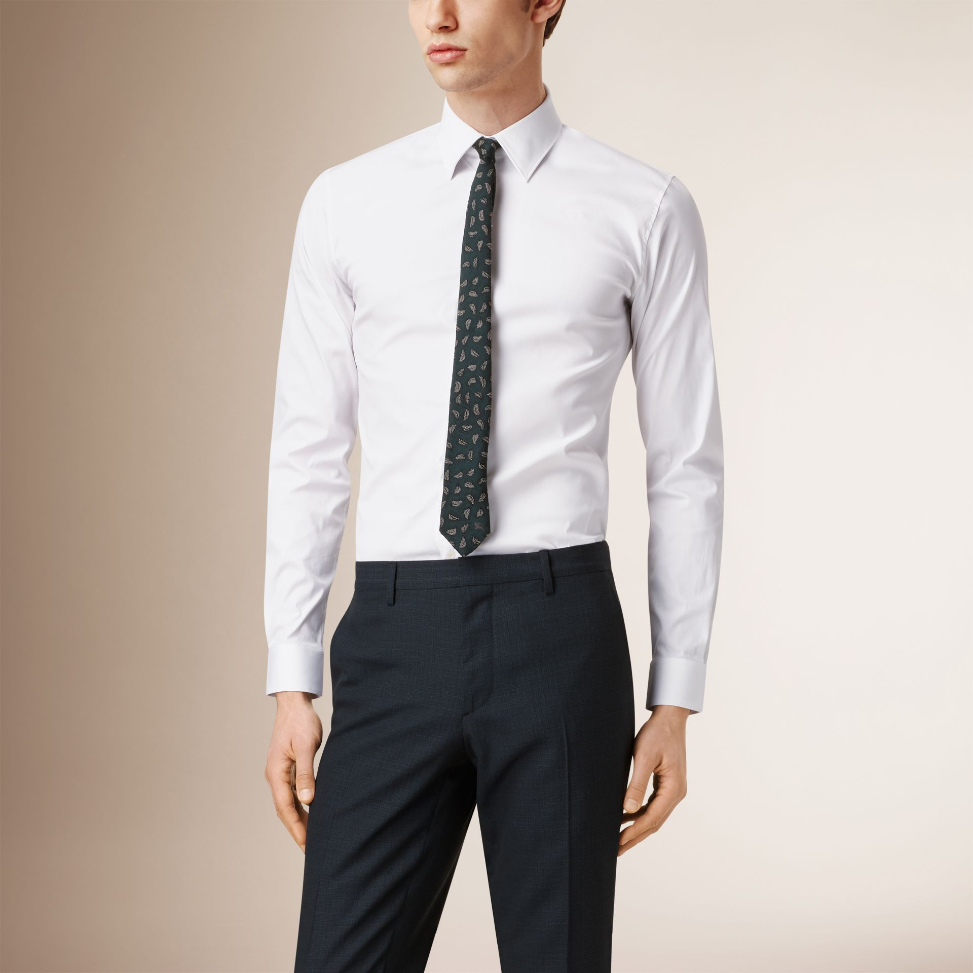 Slim Fit Stretch Cotton Shirt in White - Men | Burberry - gallery image 0